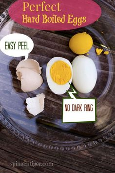 Perfect easy to peel -. Put baking soda or vinegar in pot. Bring to boil for 1 minute then turn off heat and leave eggs until cooled (15 minutes). Rinse under cold water. Or punch pin hole in end.
