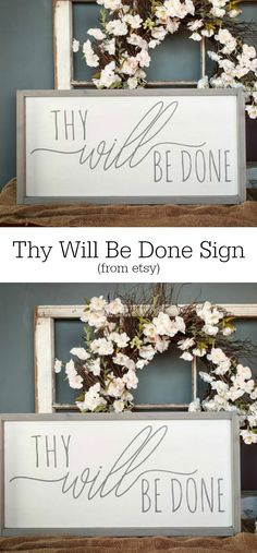 """An important part of being a Christian is trusting in the Lord, which inspires this sign """"Thy Will Be Done"""". Christian Sign, Hand-painted Wood Sign #rusticdecor #farmhouse #faith #oybpinners #ad"""