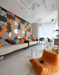 I really love this puzzle wall.. but I'd change the orange ones to green.