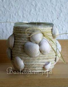 Basteln - Bastelideen - Sommerbasteln - Maritimes Teelichtglas. Great website. Lots of ideas.