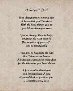 A Second Dad father dad fathers day father's day father's day quotes father's day gifs father's day poems animated father's day father's day greetings step-father Stepdad Fathers Day Gifts, Fathers Day Poems, Fathers Day Messages, Happy Father Day Quotes, Absent Father Quotes, Dad Gifts, Happy Fathers Day Brother, Being A Father Quotes, Happy Fathers Day Message