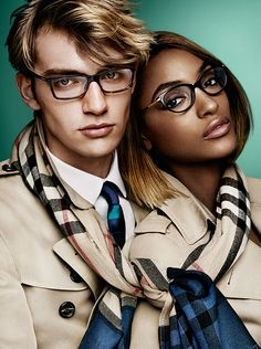 2919be1abce Jourdan Dunn and George Le Page in new season eyewear and cashmere check  scarves Ss15 Fashion