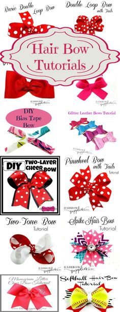 How to Make Hair Bows - Over 50 Free Tutorials Learn how to make over 75 hair bows with these hair bow tutorials! With my video tutorials, I will show you all of the basic hair bow tutorials and even more fun DIY hair bows, cheer bows, pinwheel bows Diy Hair Bows, Making Hair Bows, Ribbon Hair Bows, Diy Bow, Diy Ribbon, Making Ribbon Bows, Blue Ribbon, Hair Bows For Babies, Diy Hair Clips