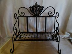 WROUGHT IRON PLANTER BENCH - Antiqued Bronze Finish, Fleur de Lis and Scrollwork $24.99