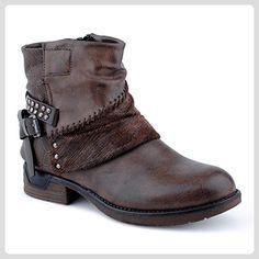 Schwarz Cowboy Stiefel Kunstleder Block-Absatz Größe 38 f0Z94