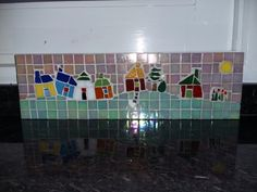 Painel casinhas em pastilha de vidro