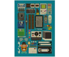 Cool Stuff retrò Poster illustrazione di CristinadeVicente
