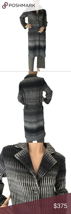 Missoni Classic Coat Magnificent Missoni.  Classic, slim-fitting  coat in shades of blue/grey/black. Buttons down the front and half belt at the back.  Simple style, fabulous fit. Missoni Jackets & Coats
