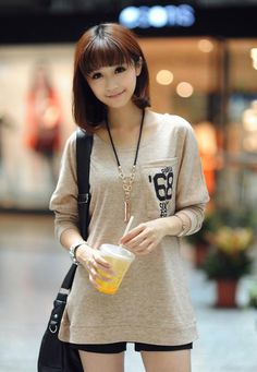 Relax Loose 'Paris 68' Long-Sleeve Blouse (Khaki)