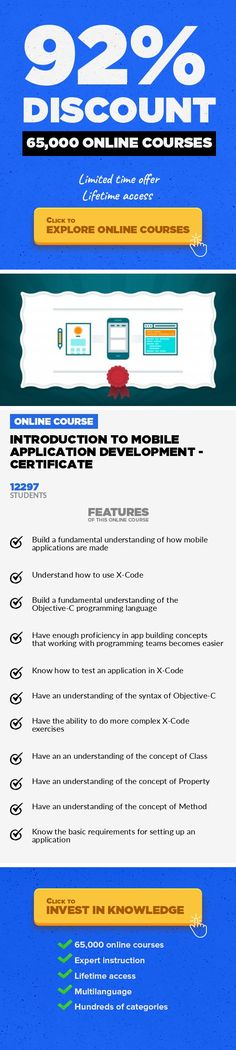 Introduction to Mobile Application Development - Certificate Mobile Apps, Development #onlinecourses #onlinelessonsteachers #onlinelessonsnaturallight  Learn how to make mobile apps for iPhone, iPad, Android and Mobile Web. Best intro to development for all backgrounds. This class teaches how to make a mobile application using X-Code and Titanium. This class requires no programming background. We ...