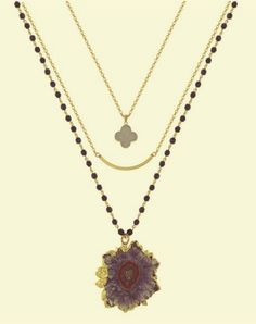 Triple strand Czechoslovakian jet crystal necklace. First tier with gold filled etched tube bead. Second tier with gold trimmed quatrefoil druzy pendant. Third tier with amethyst stalactite pendant. 36″.Share this:
