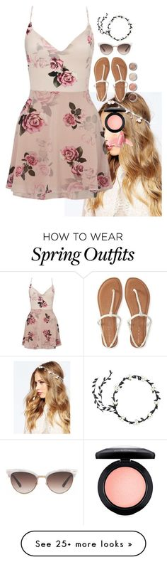 """""""Spring Outfit"""" by madeiintheam on Polyvore featuring ASOS, Lipsy, Aéropostale, Gucci, Terre Mère, Elizabeth Arden, MAC Cosmetics, Spring, springfashion and springdress"""