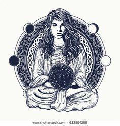 Woman meditation tattoo art. Girl in a lotus pose. Symbol of meditation, philosophy, astrology, magic, yoga. Meditating woman and crystal sphere t-shirt design