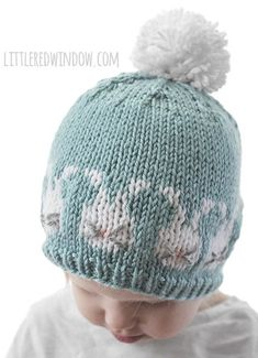 Knitting Pattern for Easter Bunnies Hat - Adorable baby hat features fair isle bunnies with whiskers. Sizes 0-3 months, 6 months, 12 months and 2T+.  Designed by Cassie at Little Red Window.