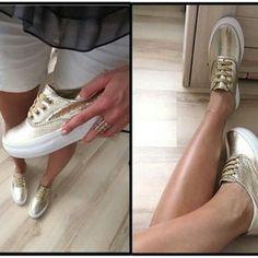 Gold trainers. www.elikshoe.pl #elikshoe #ewelina_bednarz #kolekcjonerka_butow #shoes #buty