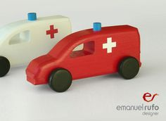 "Wooden Toy, wooden car ""ambulance"" on Etsy, $29.52"