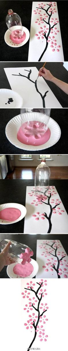 Parenting Wikipedia: Easily painted cherry blossoms, this is a good idea to paint it like parents to accompany children to play it! Just need a drink bottle and oil paint on it, oh! !