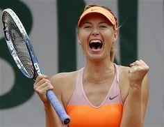 Russia's Maria Sharapova reacts as she defeats Spain's Garbine Muguruza during their quarterfinal match of the French Open tennis tournament at the Roland Garros stadium, in Paris, France, Tuesday, June 3, 2014. Sharapova won 1-6, 7-5, 6-1. (AP Photo/Michel Euler) ▼3Jun2014AP|French semis: Sharapova-Bouchard, Djokovic-Gulbis http://bigstory.ap.org/article/sharapova-advances-french-open-semifinals #Maria_Sharapova #French_Open #Internationaux_de_France_de_tennis #Torneo_de_Roland_Garros