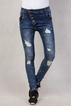 Spodnie jeansowe BAGGY z przetarciami i guzikami na skos