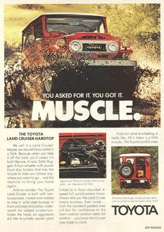 Land Cruiser Of The Day! – Enter the world of Toyota Land Cruisers Toyota Cruiser, Toyota Fj40, Fj Cruiser, Toyota Trucks, Old Ads, Japanese Cars, Old Trucks, New Tricks, Vintage Ads