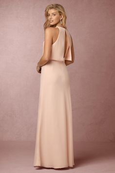 blush bridesmaid dress with open back detail | Iva Crepe Maxi in powder pink, from BHLDN