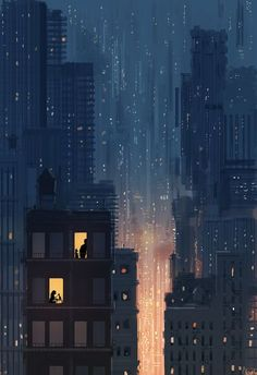 Kai Fine Art is an art website, shows painting and illustration works all over the world. City Aesthetic, Aesthetic Anime, Animes Wallpapers, Cute Wallpapers, Iphone Wallpapers, Arte 8 Bits, Scenery Wallpaper, Anime Scenery, City Art