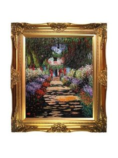 """Claude Monet """"Garden Path at Giverny"""" Framed Oil Reproduction"""