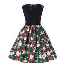 1e1787ce51de0d Frauen Weihnachtskleid Vovotrade Damen V-Ausschnitt Spitzenkleid Ärmellos Weihnachtsmann  Schneemann Druck Weihnachtskleid Plaid Schlankes Kleid Party Swing ...