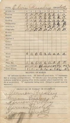 July 3, 1949: Elvis got his 8th grade report card from Humes High. He got a C in music. Here's Elvis' report cards.