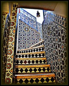 Moroccan tiles. Navy blue and yellow is a classic combo seen in a lot of cultures. Taroudant, Morocco