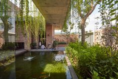 <a   Shade Flowers, Shade Trees, Landscape And Urbanism, Landscape Design, Pool Fountain, Red Brick Walls, Closer To Nature, Residential Architecture, Contemporary Architecture