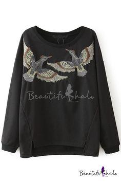 Round Neck Long Sleeve Bird Embroidery Sweatshirt - Beautifulhalo.com