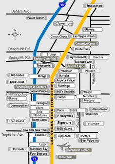 Las Vegas Strip Distance Map | dining & poolside dining Back to Top