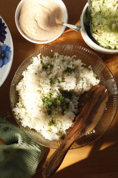 Cilantro Rice - This is Mark's favorite! I use Jasmine Rice instead of Basmati...it fills the kitchen with an amazing aroma and has an amazing depth of flavor. I serve it with baked fish or sauteed shrimp.