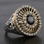 Vintage Rhinestoned Faux Gemstone Round Hollow Out Ring For Men Cheap Accessories, Black Men, Class Ring, Rings For Men, Silver Rings, Gemstones, Chic, Vintage, Jewelry