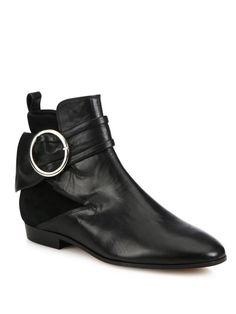 Omel Buckle Leather & Suede Booties
