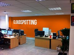 Option 4 Is Bright Orange We Have Also Added The Cloudspotting Logo To This One Office Wallsoffice Decorbackground