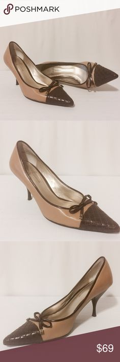 """Paola Tan & Chocolate Brown Heels Classic and comfortable! Tan leather with chocolate accents. 2 1/2"""" wood heel. Leather upper, man made soles. Excellent condition, worn once. Paolo Shoes Heels"""