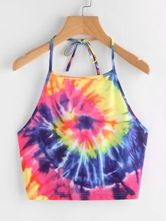 SHEIN Spiral Tie Dye Print Tie Halter Top Two pieces Outfit accessories Jumpsuit romper Fashion outfits Trendy dresses Rompers women Halter crop top White tops fashion Tye Dye, Tye And Dye, How To Tie Dye, Tie Dye Tops, Tie Dye Crop Top, Tie Dye Shirts, Band Shirts, Halter Tops, Halter Neck