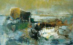 Plage bleue, 38x61, 1974, Huile sur toile, Françoise Pirró