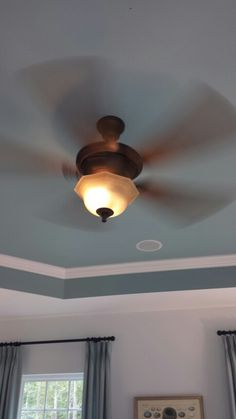Idea for painting trey ceiling in master Ceiling Ideas, Ceiling Fan, Ceiling Lights, Master Bath, Master Bedroom, Tray Ceilings, Paint Ideas, Remodeling Ideas, House Colors