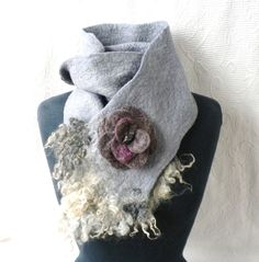 Wool Scarf With Brooch Hanfelted Scarf Norwegian Curly Wool Unique Design ONE OF A KIND Gift For Her Grey Scarf Winter Spring Eco Fashion Pine Oil, Green Soap, Grey Scarf, Winter Springs, Natural Forms, Very Lovely, Wool Scarf, Soap Making, Wool Sweaters
