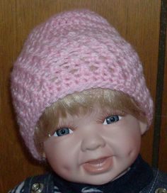 pink beanie 0 to 3 months by grandmakaystreasures on Etsy, $4.00