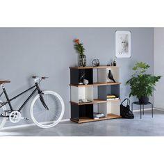 Etagère design métal et bois modulable Yu par Konstantin Slawinski - 9 cases
