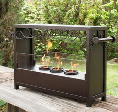 Expresso Metal Tempered Glass Indoor Outdoor Portable Fireplace Uses Gel Fuel