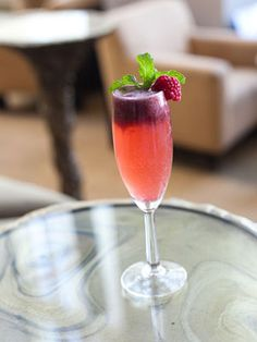 Teensy Float...Add a scoop of raspberry sorbet to a chilled champagne flute.  Fill with prosecco, garnish with a raspberry YUM