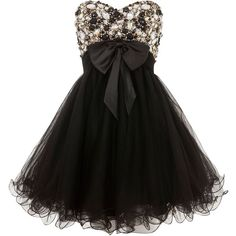 Ruby Prom Black Jada Strapless Embellished Prom Dress ($160) ❤ liked on Polyvore featuring dresses, vestidos, short dresses, robes, short cocktail dresses, short party dresses, cocktail prom dress and sparkly cocktail dresses