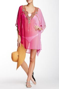 Pink Ombre Kaftan with embellishment. Flowy kaftan perfect for the beach or over a tank and bottoms. Pink Ombre Kaftan by Kareena's. Clothing - Swimwear - Cover Ups California Black Kaftan, Vintage Hippie, Bootie Sandals, Swimwear Cover Ups, Embellished Dress, Short Skirts, High Tops, Leggings Are Not Pants, Pink