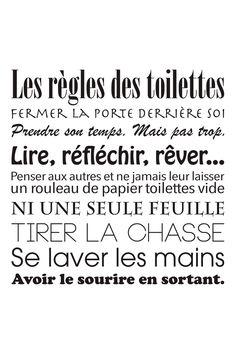 Vente STICKERS / 26590 / Stickers / Textes / Sticker Les règles des toilettes Noir