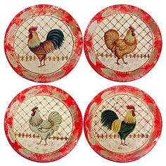 $39.99. Buy multiple items save on shipping. These four attractive Glass Decorative Plates feature unique chicken designs.  sc 1 st  Pinterest & Pair Decorative Plates Bowls Rooster Hen Chicken Hand Painted Mexico ...